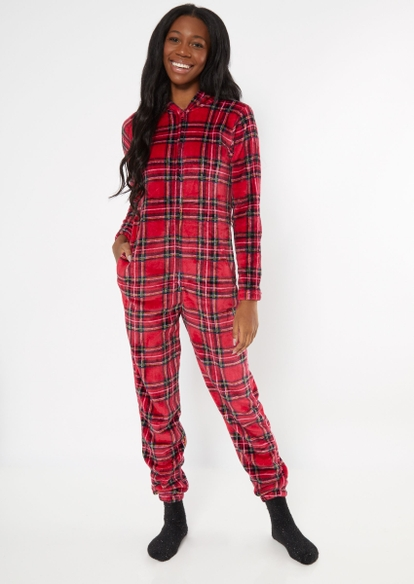 red plaid plush onesie - Main Image