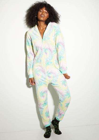 pastel tie dye print plush onesie - Main Image