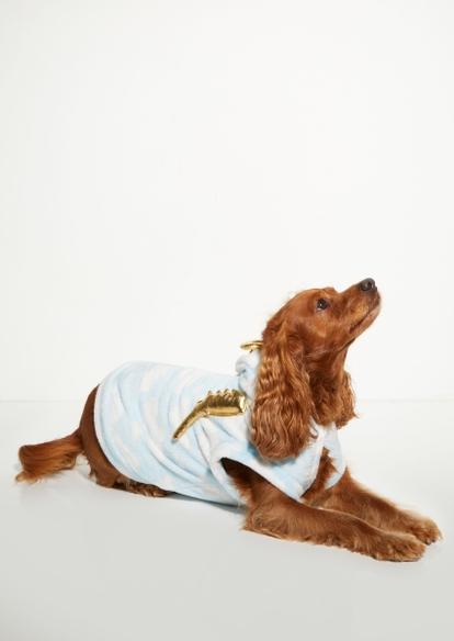 plush blue cloud print dog onesie - Main Image