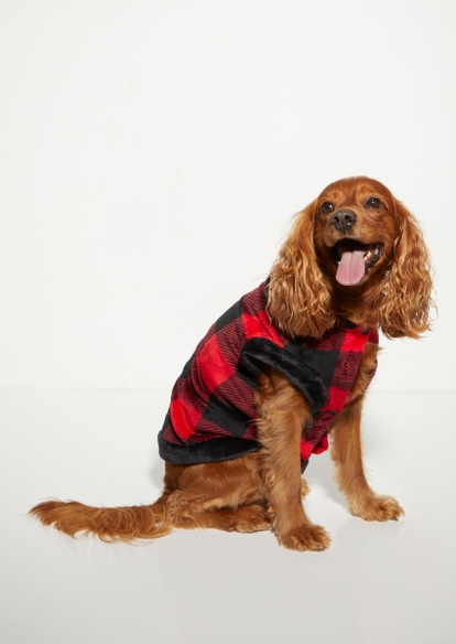 plush red plaid print dog onesie - Main Image
