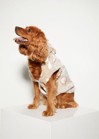 plush taupe reindeer print dog onesie - Main Image