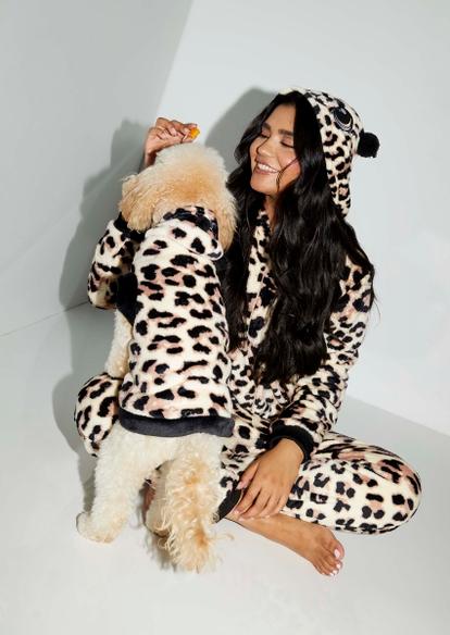 cheetah print plush onesie - Main Image