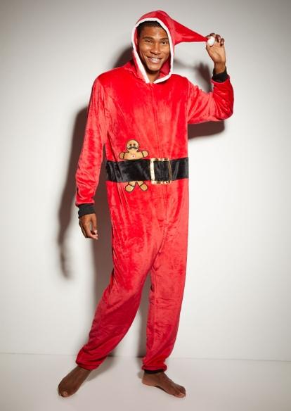 red santa plush onesie - Main Image