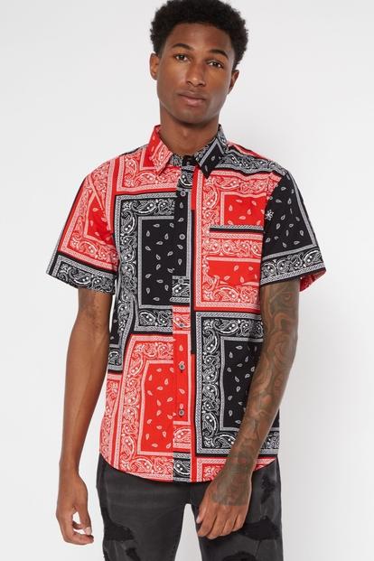 red bandana print woven button down shirt - Main Image
