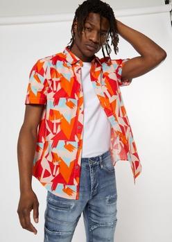 orange abstract buttondown shirt - Main Image
