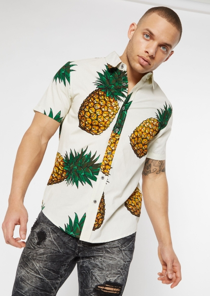 cream pineapple print button down shirt - Main Image