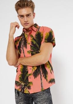 coral palm print button down shirt - Main Image