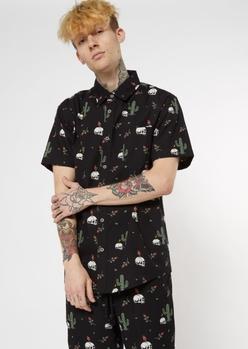 black desert skull button down shirt - Main Image