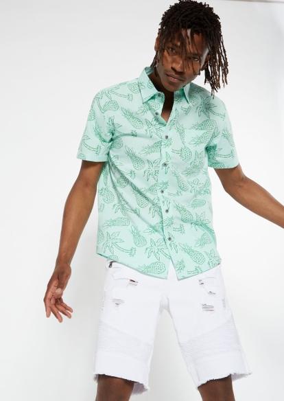 mint pineapple print button down shirt - Main Image