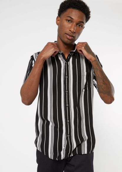 black striped short sleeve button down top - Main Image