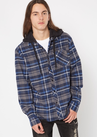 navy blue long sleeve hooded flannel - Main Image