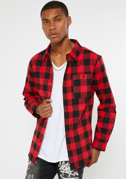 red buffalo checkered long sleeve flannel - Main Image