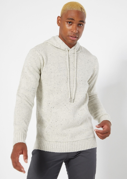 cream speckled knit hooded sweater - Main Image