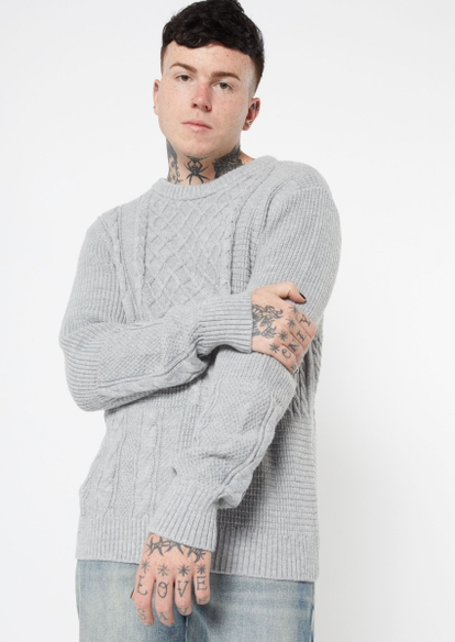 gray mixed cable knit sweater - Main Image