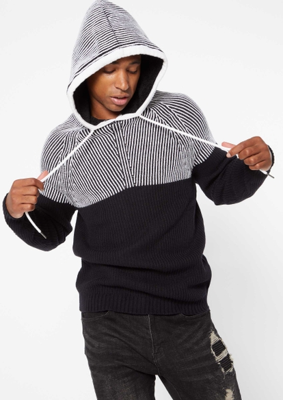 colorblock ribbed knit hooded sweater - Main Image