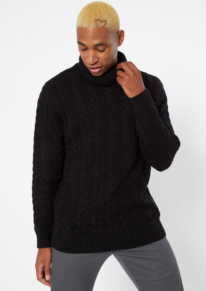 black turtleneck cable knit sweater - Main Image