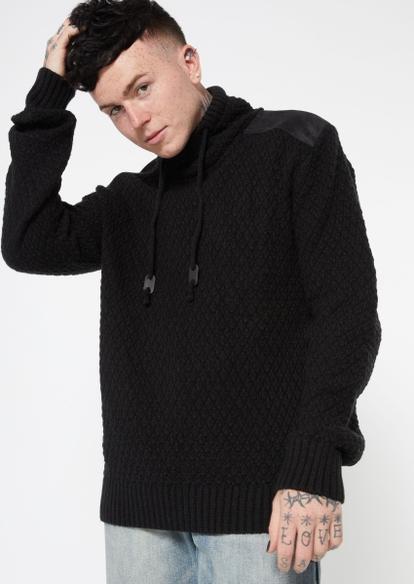 black nylon shoulder cowl neck sweater hoodie - Main Image