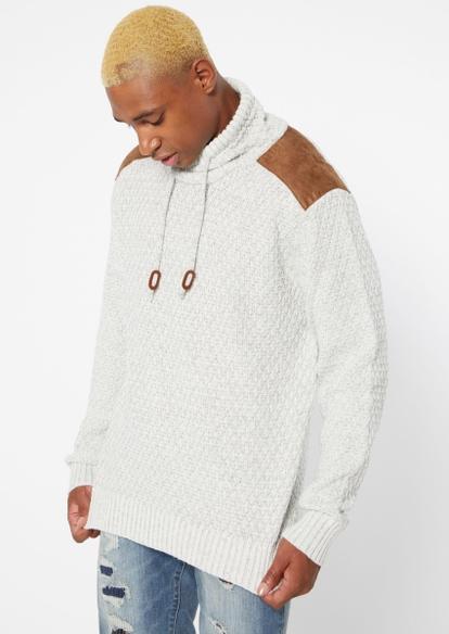 ivory nylon shoulder cowl neck sweater - Main Image