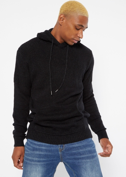 black waffle knit hooded sweater - Main Image