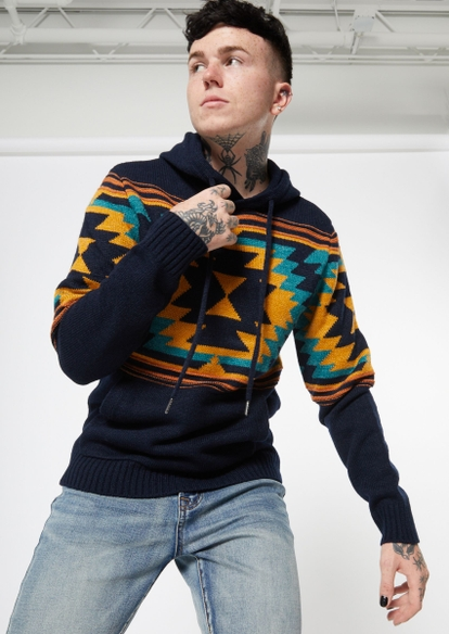 navy southwest print sweater hoodie - Main Image