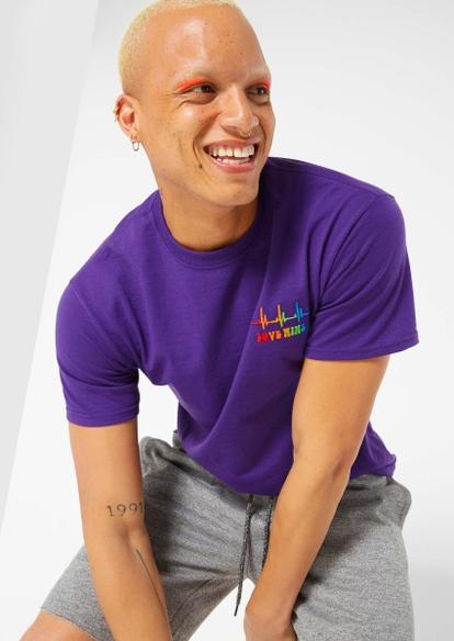 purple love wins rainbow embroidered tee - Main Image