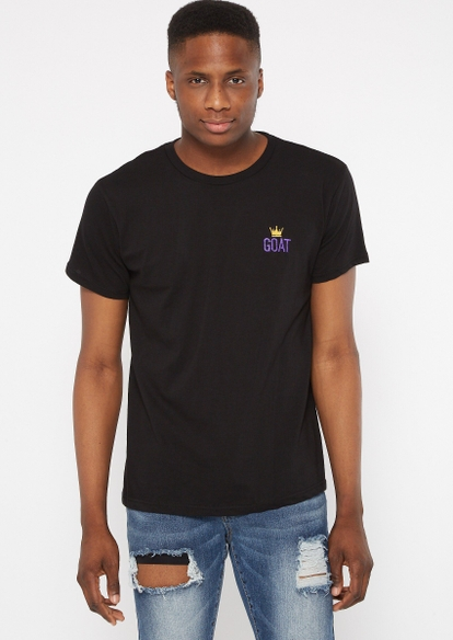 black crown goat embroidered tee - Main Image