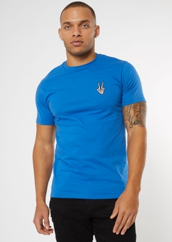 royal blue skeleton peace sign embroidered tee - Main Image