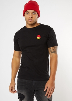 black smiley face beanie embroidered tee - Main Image