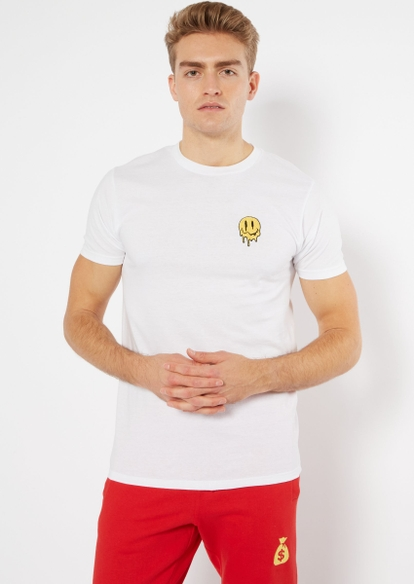 white melted smiley patch embroidered tee - Main Image