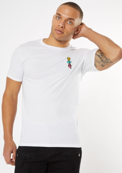 white alien smiley face embroidered tee - Main Image
