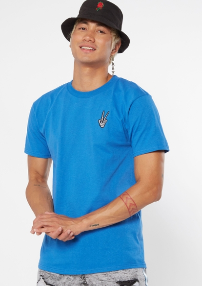 blue skeleton hand peace sign embroidered tee - Main Image