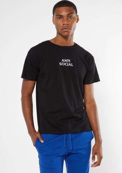 black anti social embroidered tee - Main Image