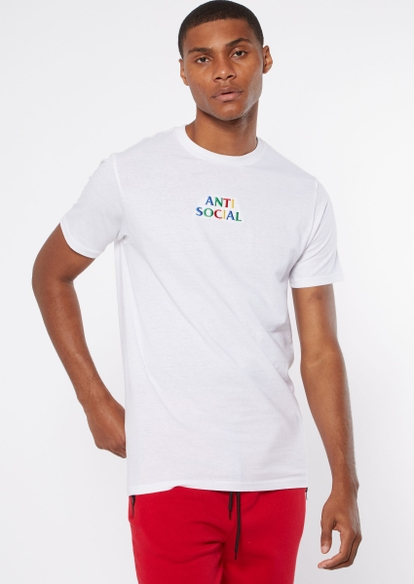 white anti social embroidered tee - Main Image