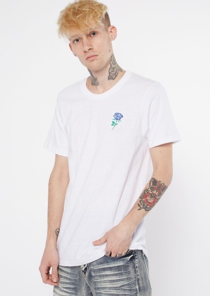 white short sleeve rose embroidered tee - Main Image