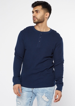 navy blue thermal henley top - Main Image