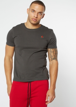 charcoal gray rose embroidered tee - Main Image