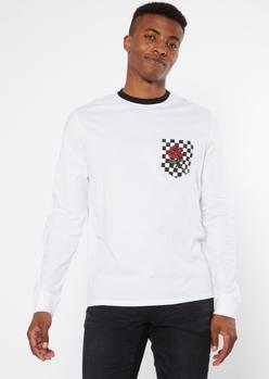 white checkered print pocket rose graphic long sleeve tee - Main Image