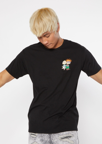 black rugrats tommy chuckie embroidered tee - Main Image