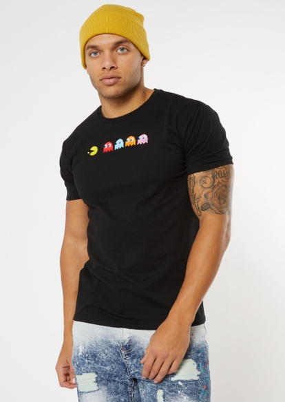 black classic pac man embroidered tee - Main Image