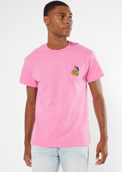 pink smiley cherry embroidered tee - Main Image