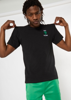 black not alone alien embroidered tee - Main Image