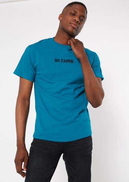 teal no cappin embroidered tee - Main Image