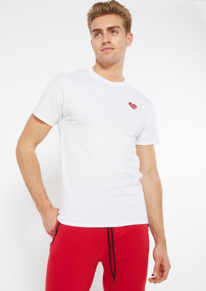 white shattered heart embroidered tee - Main Image