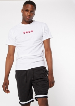 white drippy pink smiley face embroidered tee - Main Image