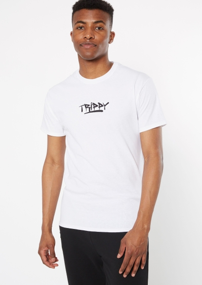 white trippy embroidered tee - Main Image