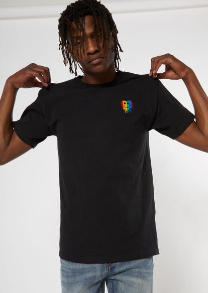black rainbow drip smiley heart embroidered tee - Main Image