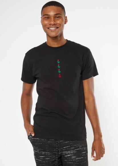 black triple rose embroidered tee - Main Image