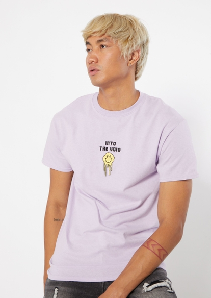 lavender into the void drippy smiley face embroidered tee - Main Image