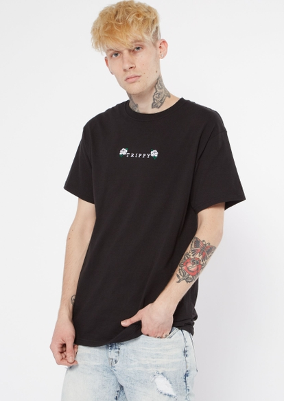 black trippy rose embroidered tee - Main Image