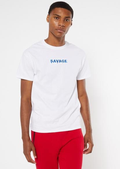 savage white embroidered tee - Main Image